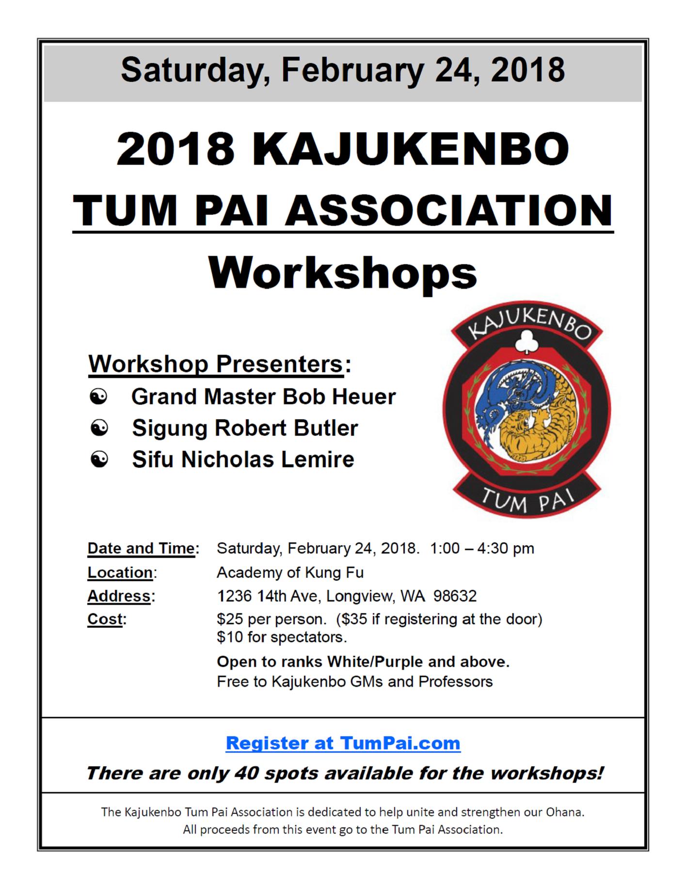 2018 Kajukenbo Tum Pai Workshops @ Longview Academy of Kung Fu | Longview | Washington | United States